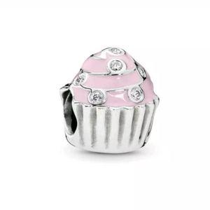 Pandora Pink Cupcake Charm Silver